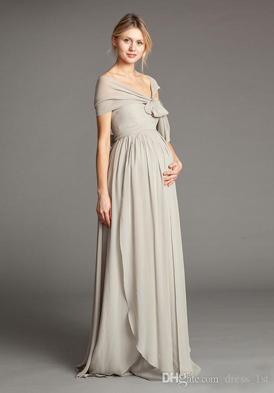 Maternity Bridesmaid Dresses Long 2016 Cheap Silver Chiffon Sweetheart Bow Sash With Shawl Floor Length Wedding Guest Dress Custom EN7224
