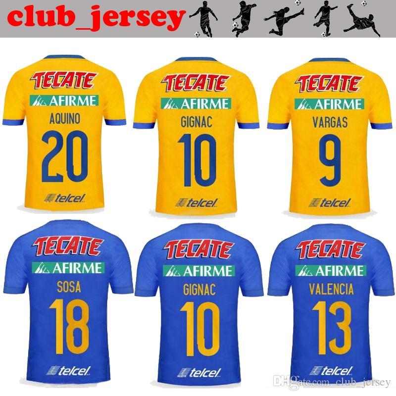 5f26dd31cc8 2017 TIGRES UANL Soccer Jersey 17 18 GIGNAC Thai Quality Home Yellow Away  Blue AQUINO DAMIAN H.AYALA SOSA VALENCIA VARGAS Football Shirt Canada 2019  From ...