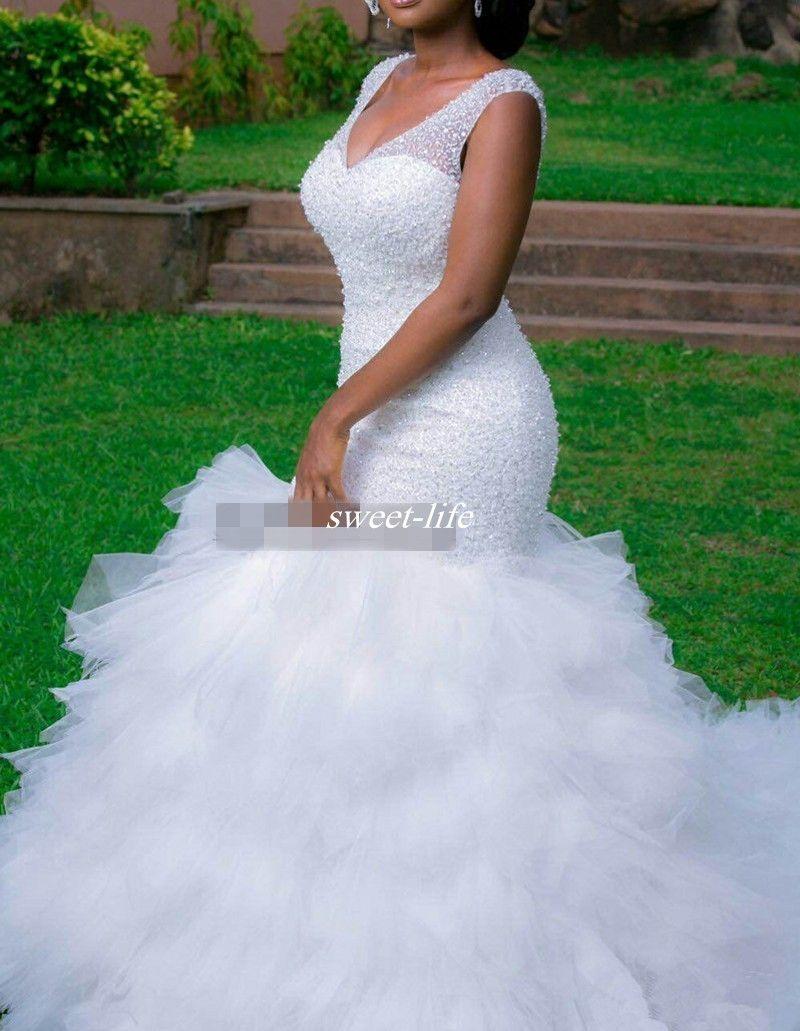 빈티지 플러스 사이즈 인어 웨딩 드레스 깎아 지른 깊은 V 목 뒤 까다로운 코르 셋 프릴 Tulle Garden Bridal Gown