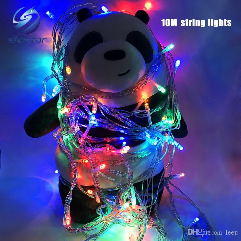 Noël lumière vacances vente en plein air 10m 100 LED chaîne 8 couleurs choix rouge / vert / RVB Fairy Lights partie imperméable lumière jardin de Noël