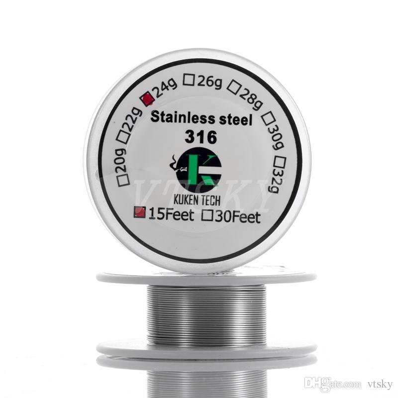 Résistance Kuken en acier inoxydable 316L TECH SS316L Fil 15feet 20-32awg 100% Original SS316L fil de résistance fil pour RDA RBA Vaporizer Atomi