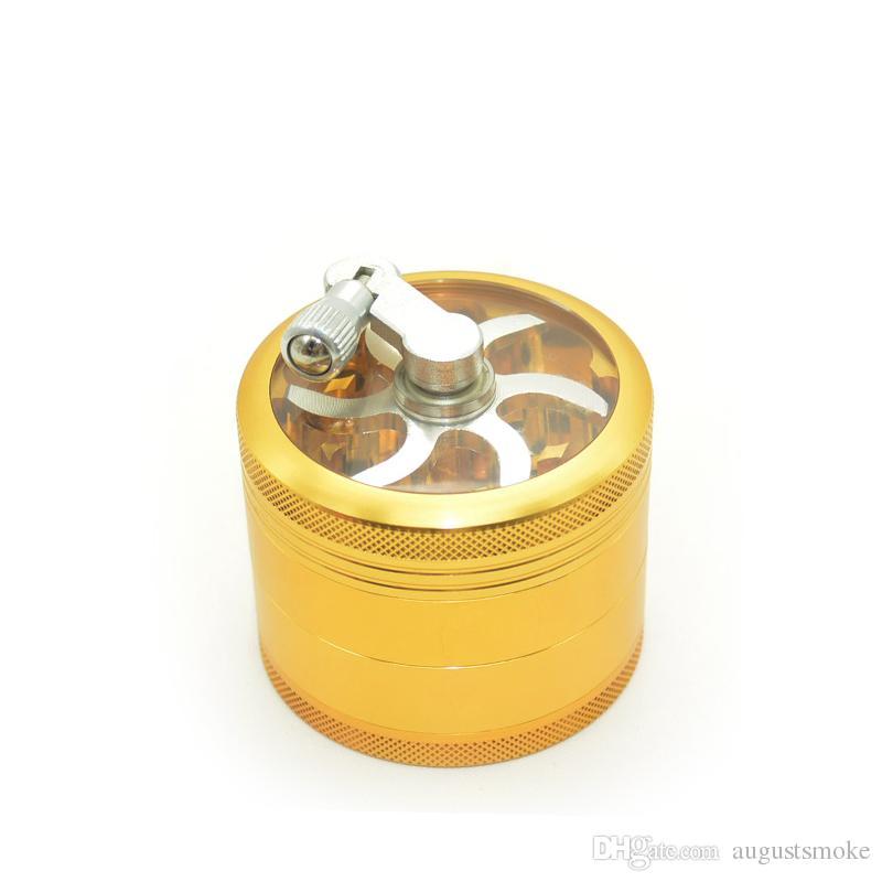 Aluminium sawtooth Schleifer mit Griff Rollen Pollen HandkurbelnTobacco Grinder Smoke Grinders 4 Laye Rauchen Neu Kostenloser Versand Großhandel