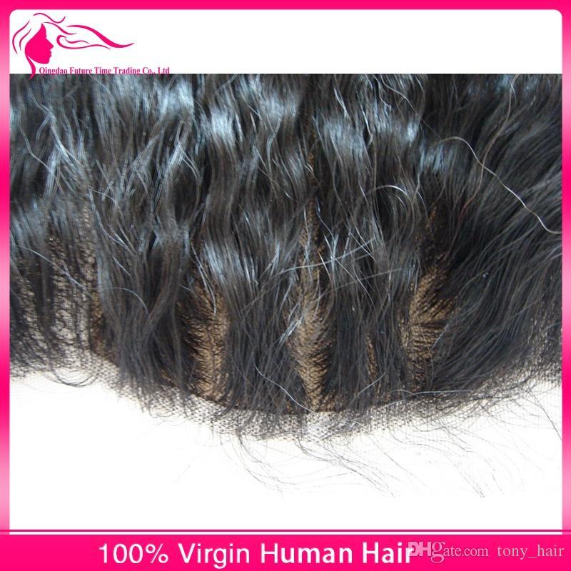 Virgin Brazilian Kinky Straight 4x4 Silk Base Lace Frontal Closure Bleached Knots Coarse Yaki Silk Top 13x4 Ear to Ear Lace Frontals