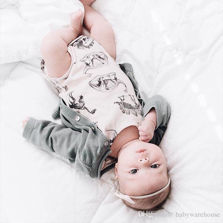 Sommer Babyspielanzug Infant Baby Mädchen Jungen Kleidung Dinosaurier Gedruckt Ärmellos Strampler Bodysuit Sunsuit Baumwolle Einteilige Outfits Kinder Kleidung