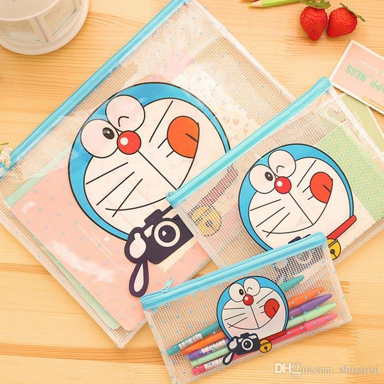A4 A6 A6 size set zipper cartoon plastic Waterproof Document pocket bill pouch file Pen Filing Pocket Folder Office & School Supplies