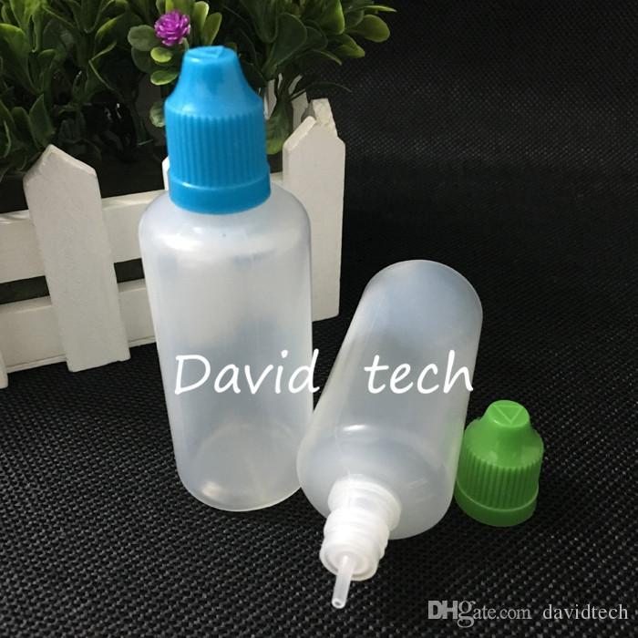 Trasporto veloce 60ml Bottiglie LDPE Soft Style plastica contagocce con protezioni a prova di bambino e punta lunga e sottile E succo E liquido
