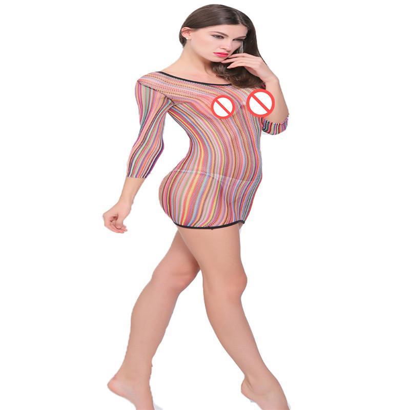 La biancheria intima sexy di tentazione di alta elasticità ha stretto il vestito sexy di colore variopinto trasparente della maglia vuota dell'anca del pacchetto