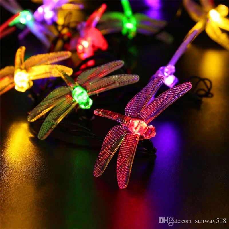 best solar outdoor led string lights waterproof 6m 30 led christmas solar string lights 8 modes dragonfly fairy garden light for festival under 905