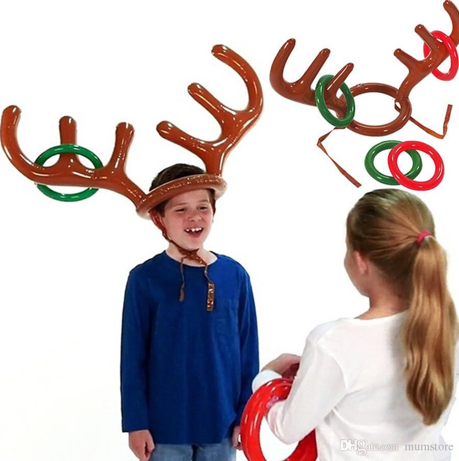 4ec638363ba69 Funny Kids Inflatable Hat With Ring Toss Game Children Reindeer Antler Christmas  Toys Balloon Headgear Hat Rings Christmas Party Supplies Balloon Decoration  ...