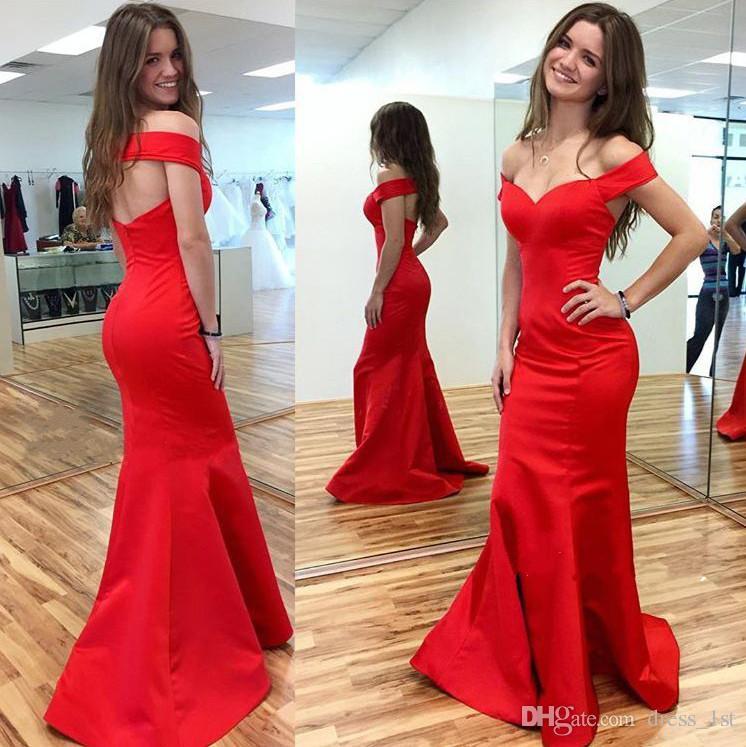 Skromny 2017 Czerwona Satyna Syrenka Prom Dress Długość Tanie Off The Ramię Sexy Wytnij Back Formal Party Suknie wieczorowe Custom Made EN10919