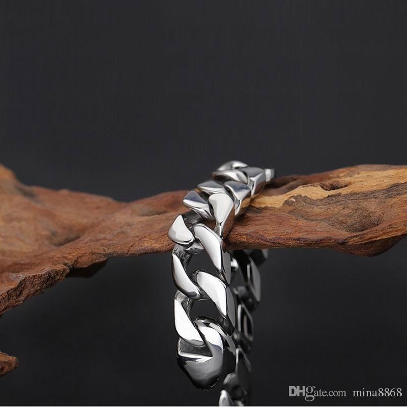 Fashion Jewelry Men Link chain Bracelet 19 20 21 22cm Cuban links & chains Stainless Steel Bracelet for Bangle Male Accessory Wholesale