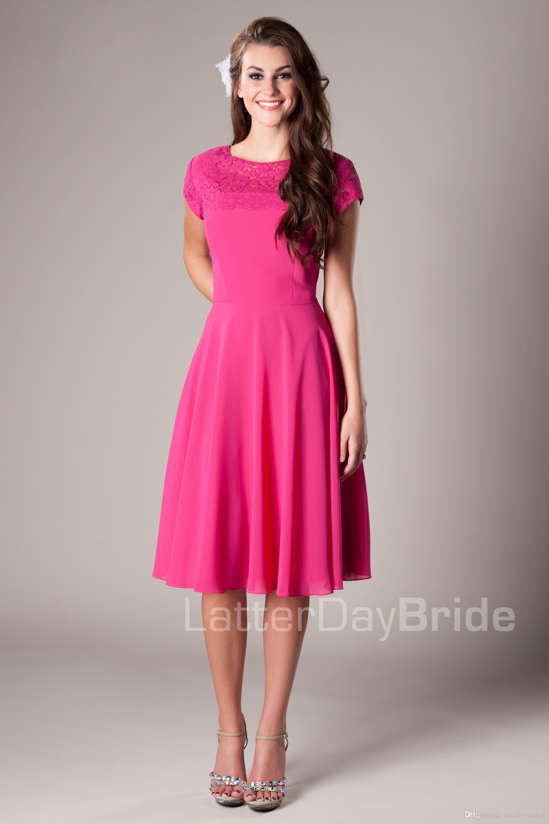 Fuchsia Lace Chiffon Short Modest Bridesmaid Dresses Cap Sleeves ...