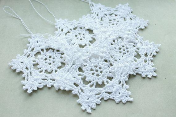 Handmade Pendurado enfeites de decoração para casa, inverno decorações de crochê, flocos de neve Brancos, Natal Crochet floco de neve, Crochet floco de neve sd69