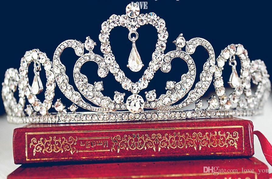 새로운 웨딩 신부 크리스탈 Tiaras 왕관 공주 여왕 Pageant 댄스 파티 라인 스톤 베일 Tiara 머리띠 웨딩 헤어 액세서리