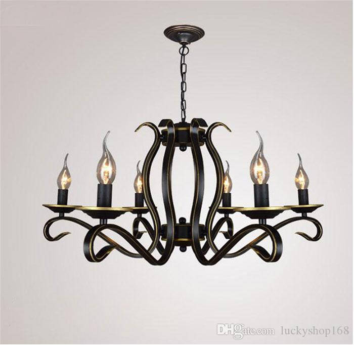 New cheap ac100 240v european candle chandelier lustre american country home living room chandeliers light wrought iron metal hanging lamp chandeliers