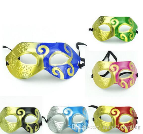 2016 New Men's retro Greco-Roman Gladiator masquerade masks Vintage Golden/Silver Mask silver Carnival Mask Mens Halloween Costume Party Mas