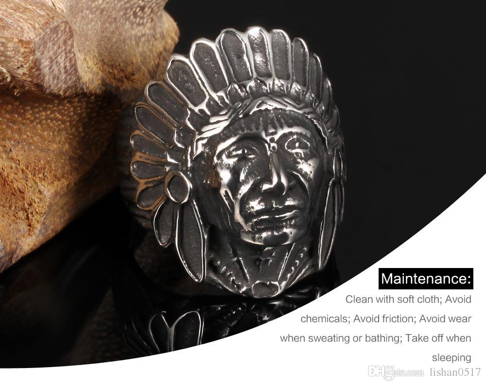 Men Rings Indian Chief Design Stainless Steel Vintage Jewelry Skull Big Ring Black Punk Ring wholesale GJ484