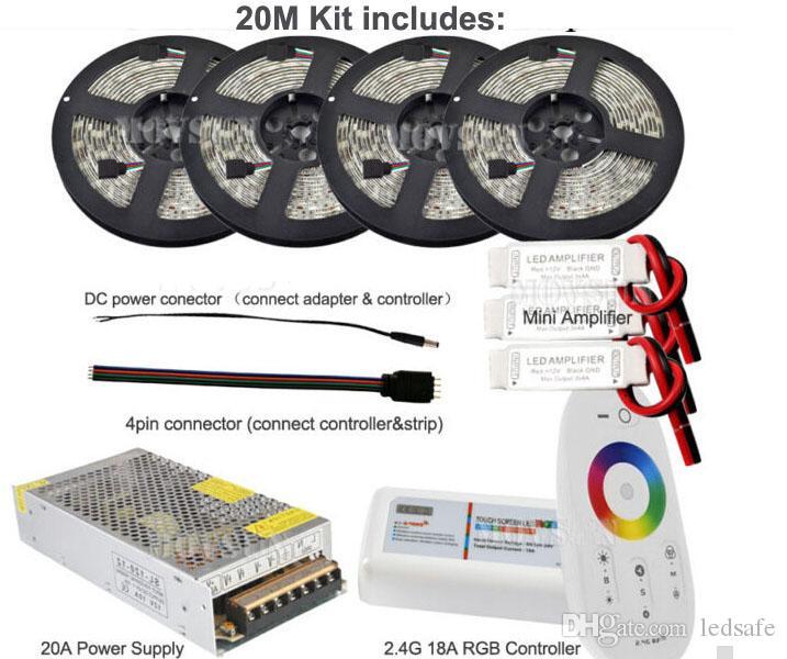 5050 RGB LED 유연한 스트립 라이트 램프 60LES / M 30m 20m 15m 10m 5m DC 12V 방수 IP65 IP20 스트립 2.4G 원격 컨트롤러 + 전원 어댑터