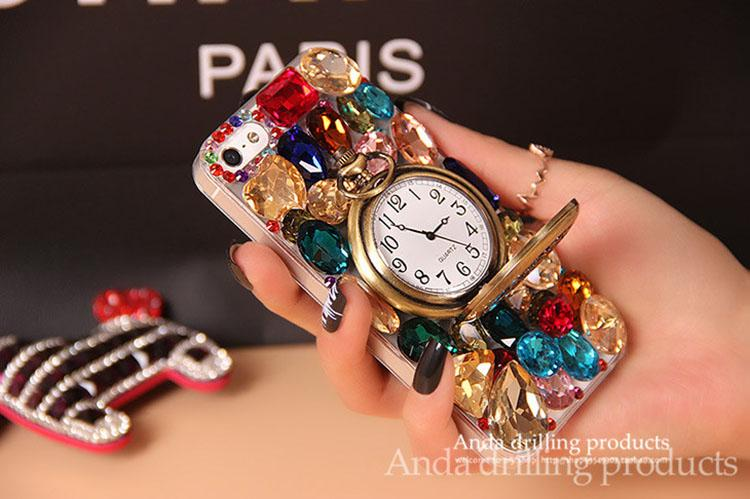 Retro Rhinestone Diamond For Apple iPhone 6 6s Plus colored gems Bling Phone Case Cover Vintage pocket watch bell iPhone 5 5s i6