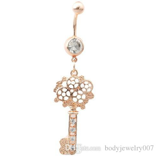 D0489   Nice KEY style belly ring colour as imaged piercing body jewlery navel belly ring body jewelry
