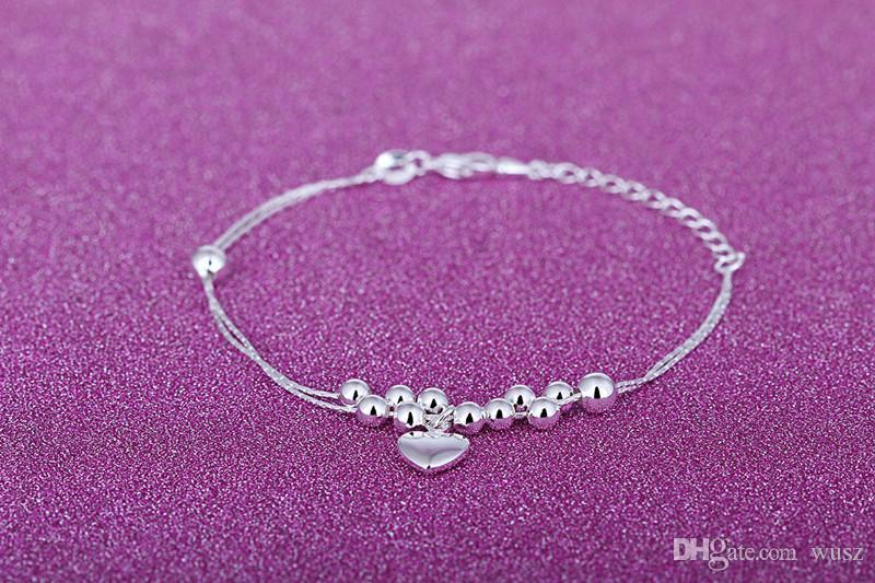 New Women Love Heart Anklets 925 Sterling Silver Jewelry Fashion Double Snake Foot Chain Party Gift Hot Selling