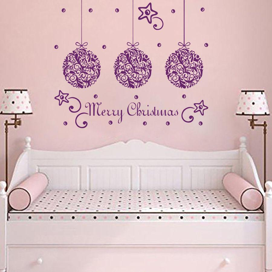 Merry Christmas Quotes Star Decor Wall Sticker Kids Children Bedroom