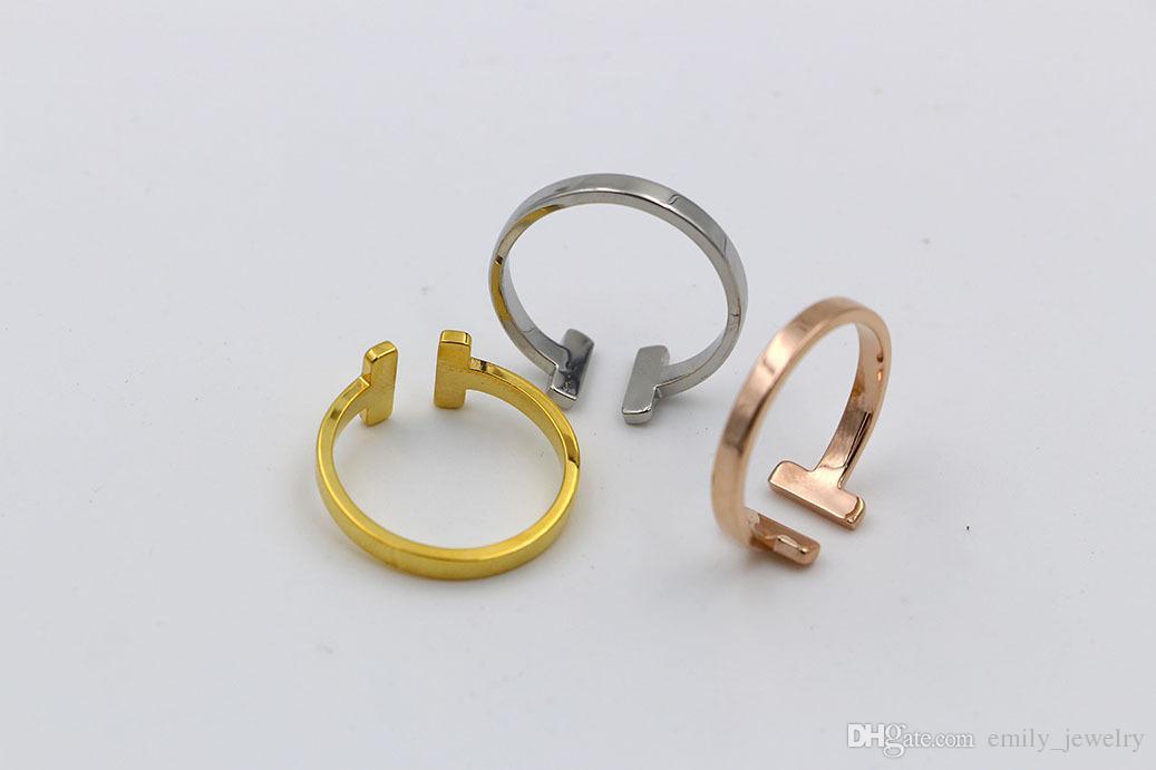 316L Acero inoxidable moda doble T anillo joyería para mujer hombre amante anillos 18 K oro-color y rosa joyería Bijoux no tiene ningún logotipo