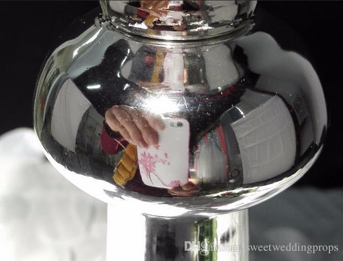 Vaso de flor de metal prateado bonito de alta qualidade para peças centrais do casamento