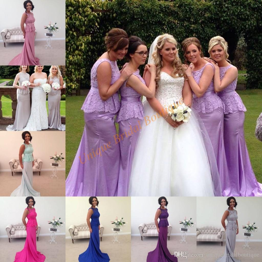 Cheap Bridesmaid Dresses 2017 Under 150 With Lace Bodice And Peplum ...