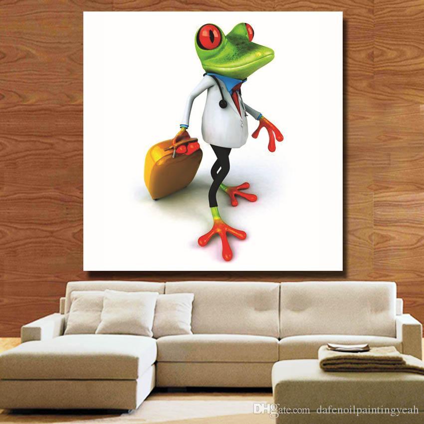 Viagem Frog Pintura para Quarto Decoração Pintados À Mão Pintura A Óleo Home Decor Wall Pictures Arte Da Lona Moderna Barato Sem Moldura