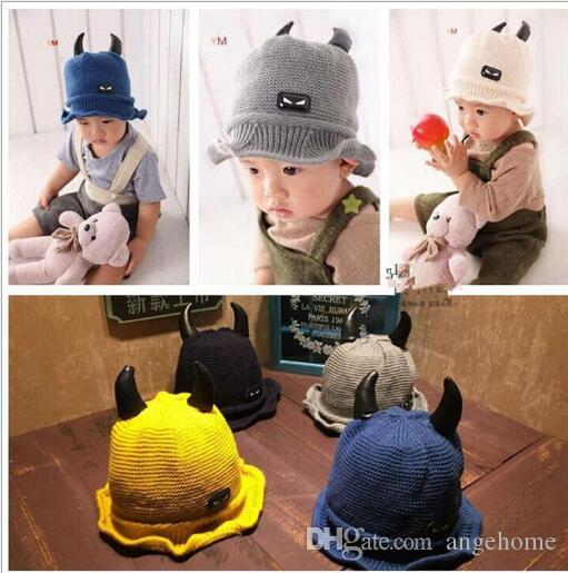 aaa6ac8ad84 2019 2016 New Cute Kid Ox Horn Hats Child Devil Horns Winter Autumn ...