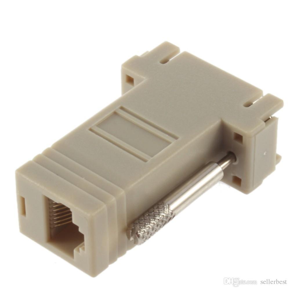 Adattatore cavo di rete VGA D-SUB DB9 Extender Maschio a LAN CAT5 CAT5e CAT6 RJ45 femmina