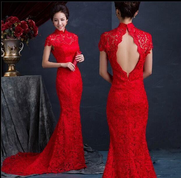Luxo Vermelho De Seda De Renda Magro Vestidos Chineses Longo Vestido Cheongsam Melhorado Vermelho Gola Alta Sem Encosto Vestidos de Noiva Nupcial Estilo Sereia