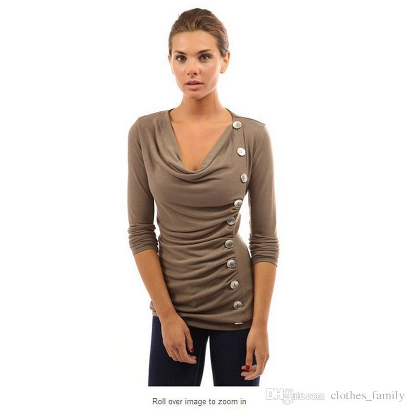 Top 2020 New High Quality Brand Women Fashion Blouse Autumn And Winter V Neck Sexy Cotton T-Shirt Casual Slim Warm Plus Size T-Shirt