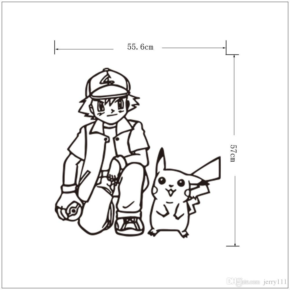 Poke Wall Sticker Ash Ketchum And Pikachu Cartoon Sickers Black White  Sketch Stickers 56*57cm For Kids Room Decor T403 Boys Wall Decals Boys Wall  Stickers ... Part 62
