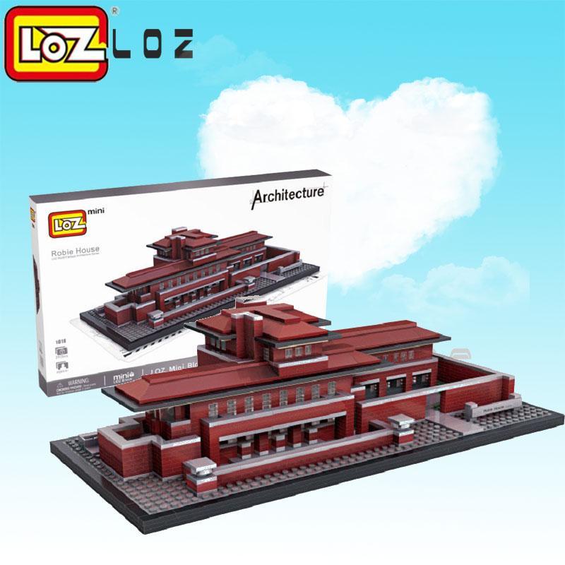 2018 loz blocks architecture robie house model build kits mini