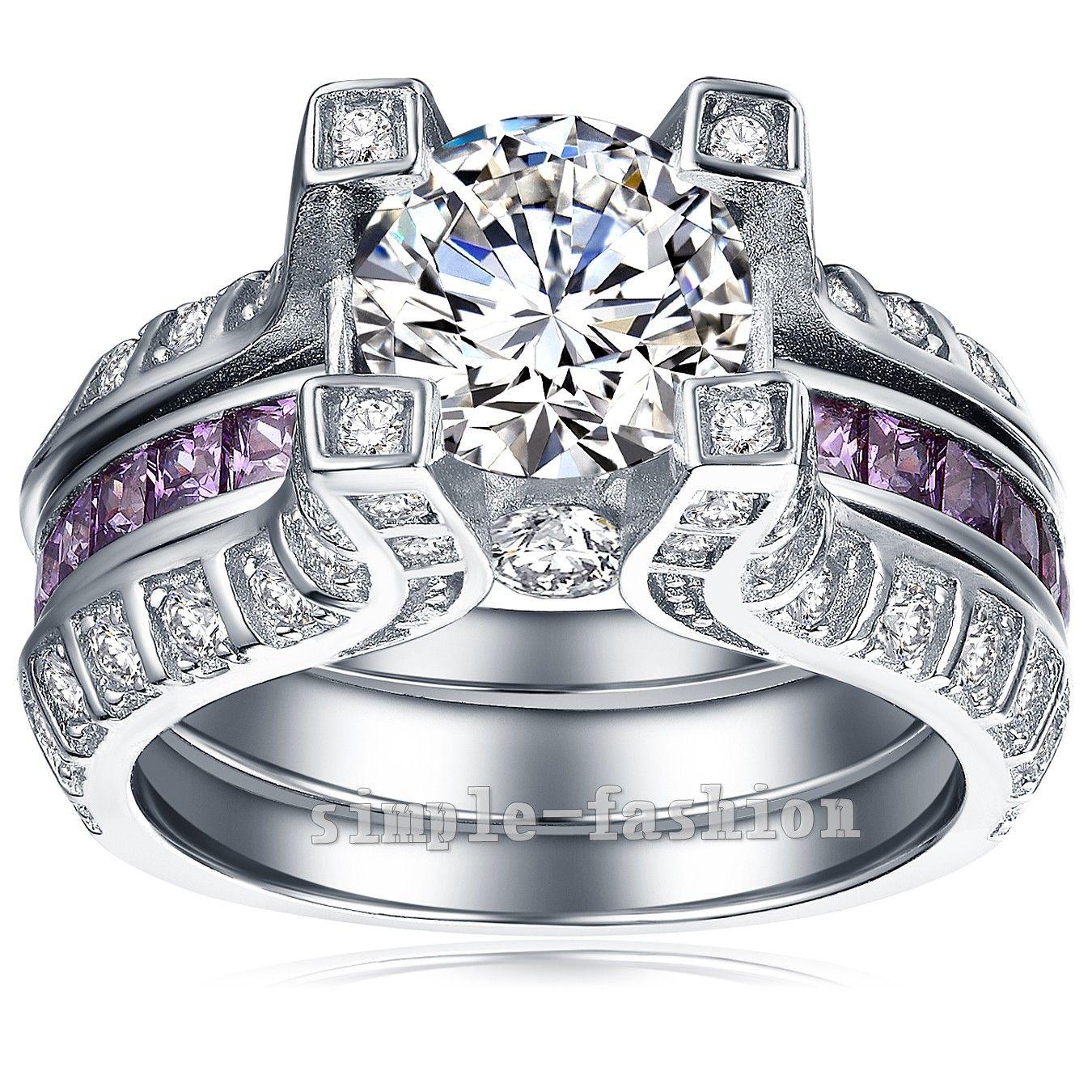 Vecalon роскошные ювелирные изделия 3ct Аметист Cz Алмаз обручальное кольцо обручальное кольцо набор для женщин 10kt белого золота заполнены Женские кольца