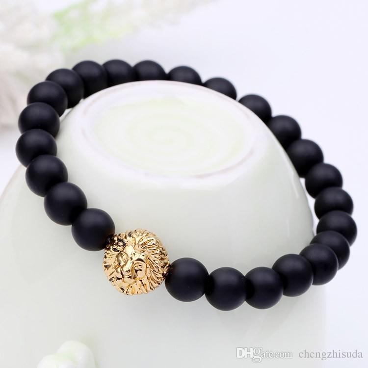 Beaded Charm buddha paracord natural stone lion bracelet for men pulseras hombre bracciali uomo mens Jewelry