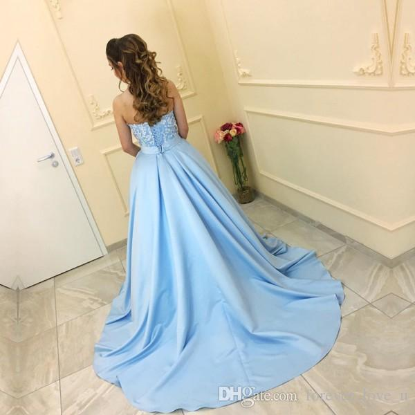 dresses party evening Baby Blue Evening Dresses 3D Floral Appliques Sweetheart Sleeveless Corset Arabic Prom Gowns Evening Gown
