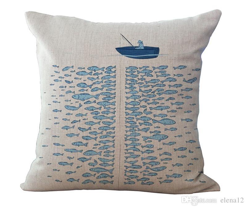 Azul Ocean fronha Grande Personalizado Capa de Travesseiro Dos Desenhos Animados Enorme Baleia Azul Oceano Vela Peixe Rio Fronha 240440