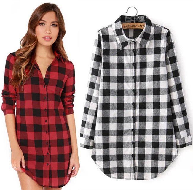 49683d8a1 Compre Ropa De Mujer Tops Blusas Camisas Moda Plaid Solapa Cuello Blusa De  La Ropa De Las Mujeres Más El Tamaño Tops Mujeres Camisas Z60 A  7.54 Del  ...