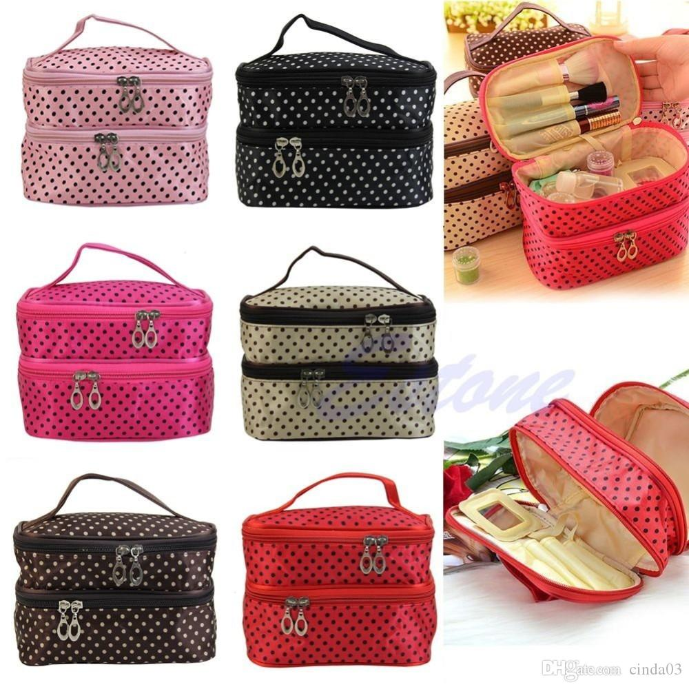 Wholesale-Women Portable Cosmetic Polka Dots Organizer Beauty Makeup Case Pouch Zip Bags