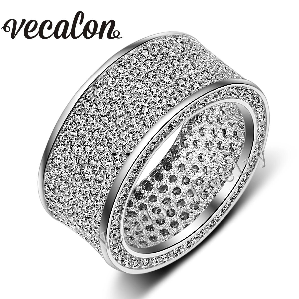 Vecalon Full 320Pcs Simulated diamond Cz Wedding Band Ring for Women 10KT White Gold Filled Female Engagement Band Sz 5-11