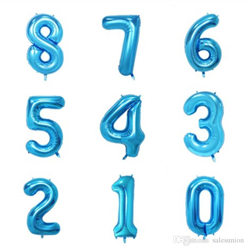 Number Helium Balloon 40 Inch Big Blue Number Balloons Aluminum