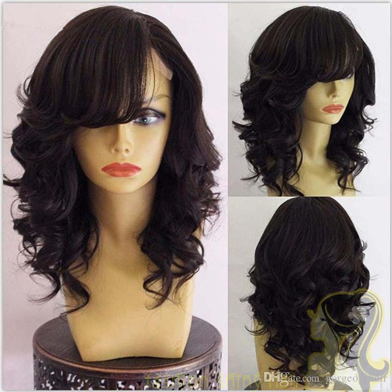 Brazilian Body Wave Wavy Lace Front Wigs Glueless Full Lace Human Hair Wigs With Side Bangs 130% Density Bleached Knots