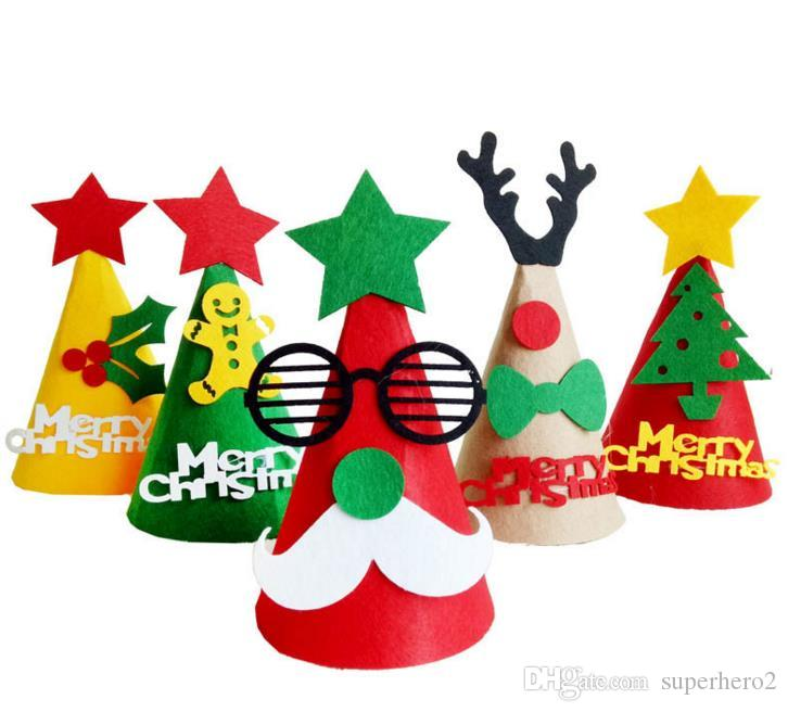 party hats diy christmas cap party decoration handmade favor christmas tree reindeer santa claus hat cap dree up festive gift supplies birthday hat headband - Santa Claus Christmas Decorations