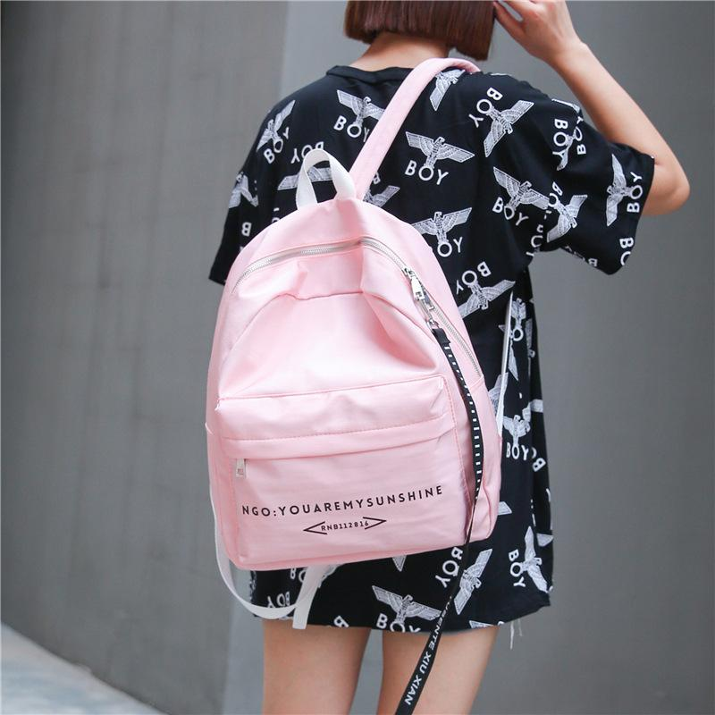 2017 New Arrival Fashion Women Shoulder Bags Solid Letter Print Nylon Student School Bags Girl Boy Backpacks High Quality Brands