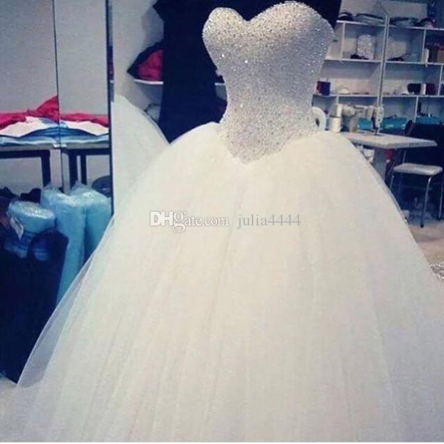 2019 New Ball Gown Wedding Dresses Bridal Gowns With Sweet-heart White Tulle Corset Back Beads Crystals Sweep Train Custom Made