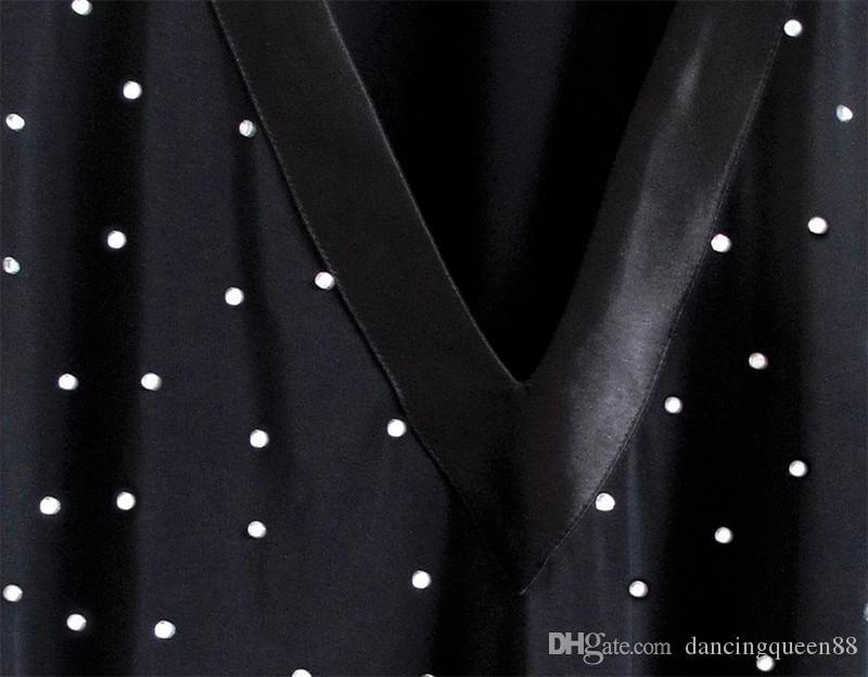 2016 Hommes De Danse Latine Robe De Haute Qualité Spandex Satin Diamant Vêtements Pour Danse Man Salle de bal / Danse latine Tops / Chemise Danse Porter