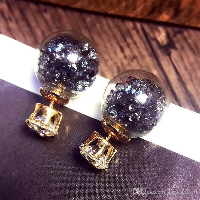 Crystal Earring Studs Korean Style 2018 Fashion Stud Earrings for Women Wholesale Diamond-jewelry Ear Rings Elegant Mix Gift Ideas